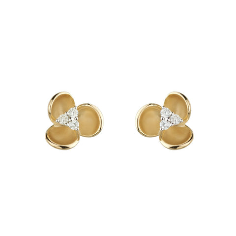 14k Gold Diamond Orchid Stud Earrings