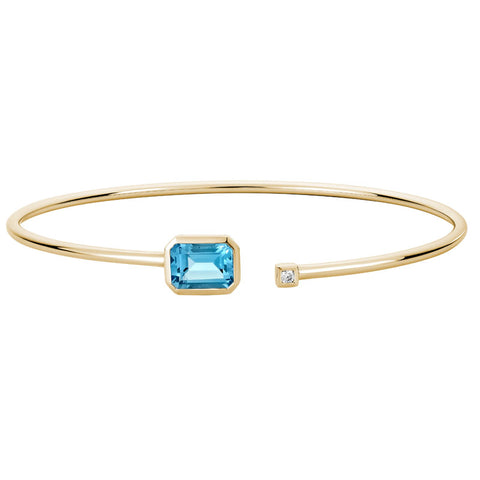14k Gold Topaz & Diamond Bangle