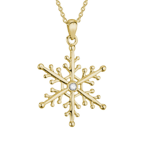 14k Gold Diamond Snowflake Pendant