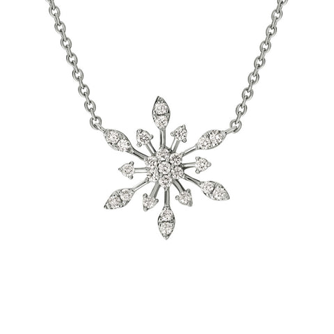 14k Stationary Diamond Snowflake Necklace