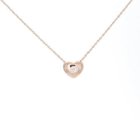 14k Gold and Diamond Heart Necklace