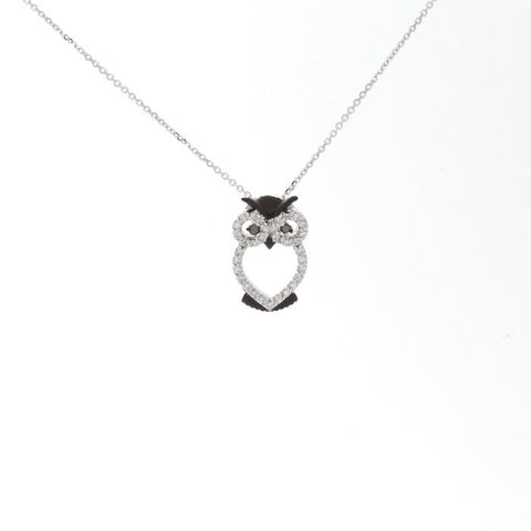14k White Gold and Diamond Owl Necklace