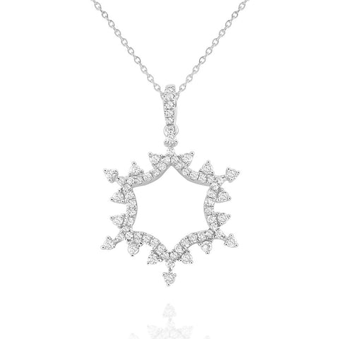 14k Gold Diamond Open Snowflake Pendant
