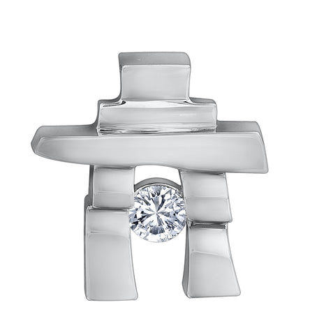 14k white gold Inukshuk Pendant with Canadian Diamond (medium)