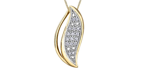 10k Gold Wave Diamond Pendant