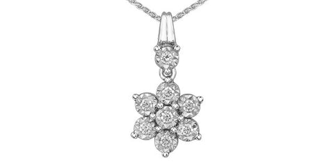 10k Gold Diamond Snowflake Pendant
