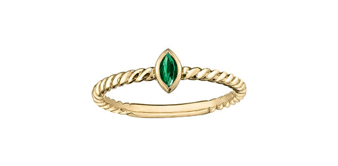 10k Emerald Stacker Ring