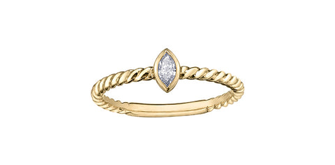 10k Gold and Diamond Stacker Ring