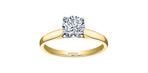18k Gold Canadian Diamond Solitaire Engagement Ring