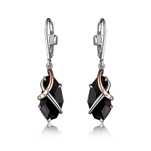 Elle - Sterling Silver Obsidian Drop Earrings
