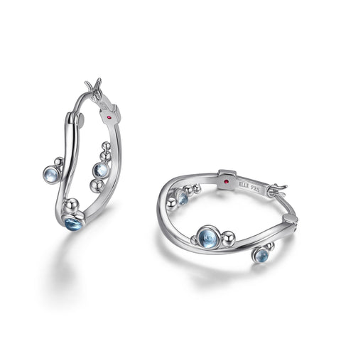 Elle - Sterling Silver Blue Topaz Earrings