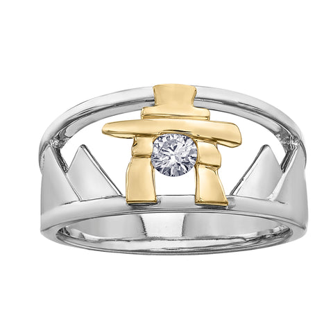 14k Gold Inukshuk Mountain Ring with Canadian Diamond