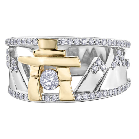 14k Gold Inukshuk Mountain Ring with Canadian Diamonds