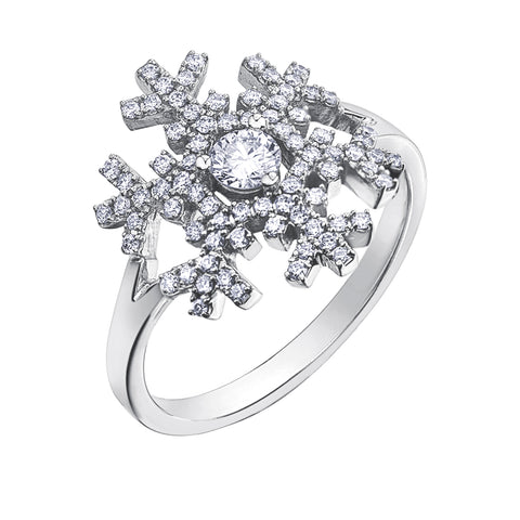 14k Canadian Diamond Snowflake Ring