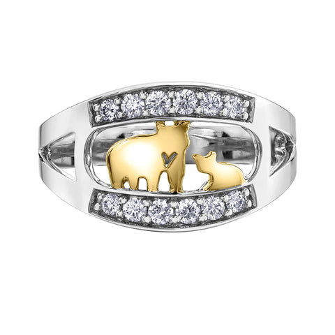 14k Gold Jeanie Bear Canadian Diamond Ring