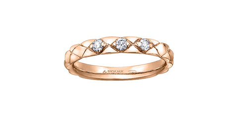14k Diamond Quilted Stacker Ring