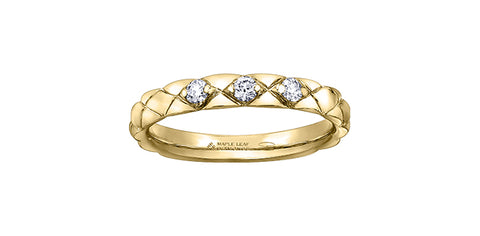14k Gold Diamond Quilted Stacker Ring