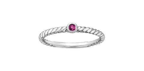 10k Pink Tourmaline Rope Stacker Ring