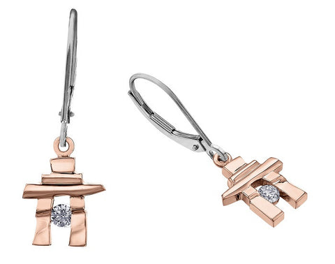 14k rose gold Inukshuk Euroback Earrings with Canadian Diamonds