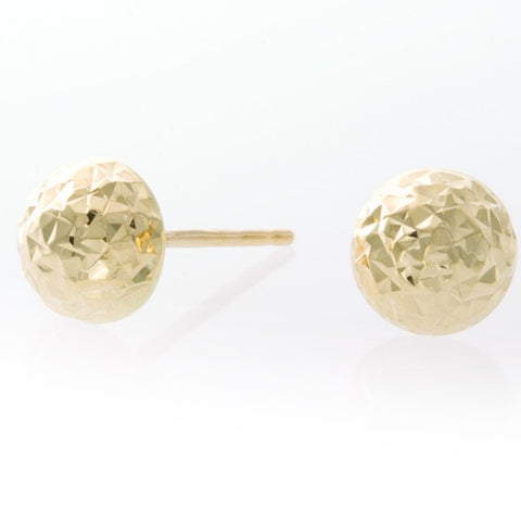 14k Gold Diamond Cut Stud Earrings