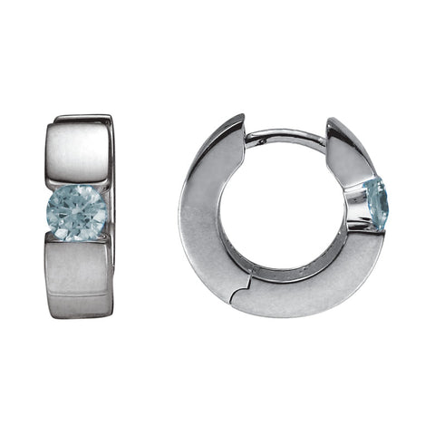 Sterling Silver Aquamarine huggie Earrings