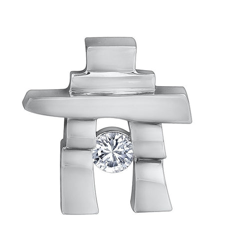 14k white gold Inukshuk Pendant with Canadian Diamond (small)