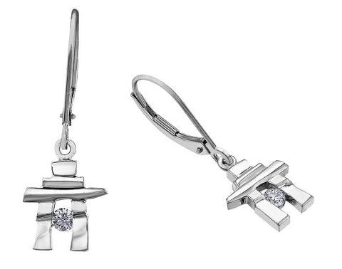 14k white gold Inukshuk Euroback Earrings with Canadian Diamonds