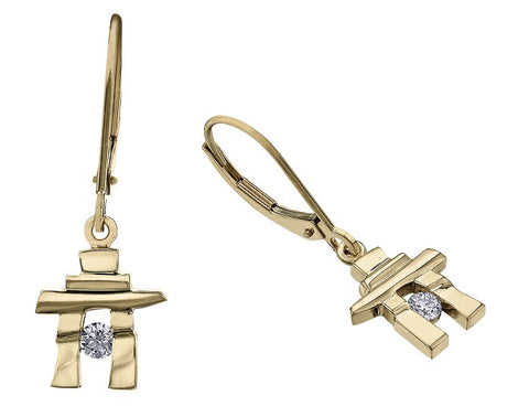 14k yellow gold Inukshuk Euroback Earrings with Canadian Diamonds