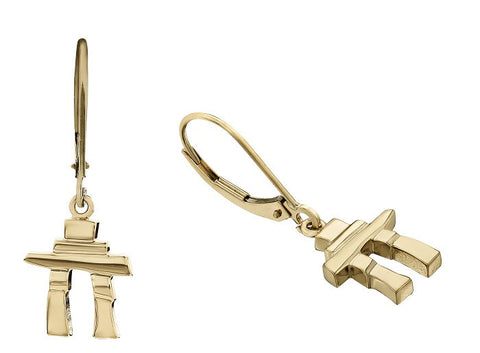 14k Gold Inukshuk Euroback Earrings