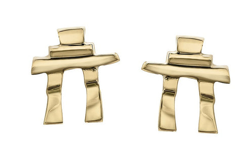 14k gold Inukshuk Stud Earrings