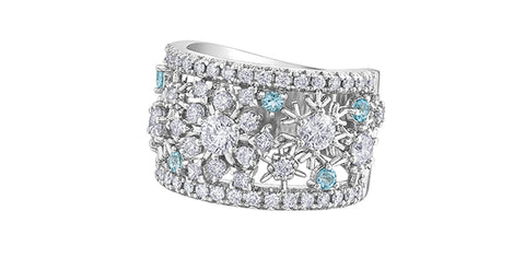 14k Candian Diamond Snowflake Dinner Ring