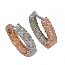 14k Gold Diamond Cut Huggie Earrings