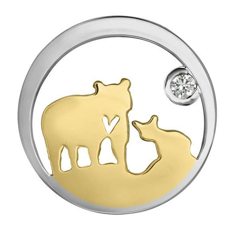 14k Canadian Gold Jeanie Bear Pendant with Canadian Diamond - Small