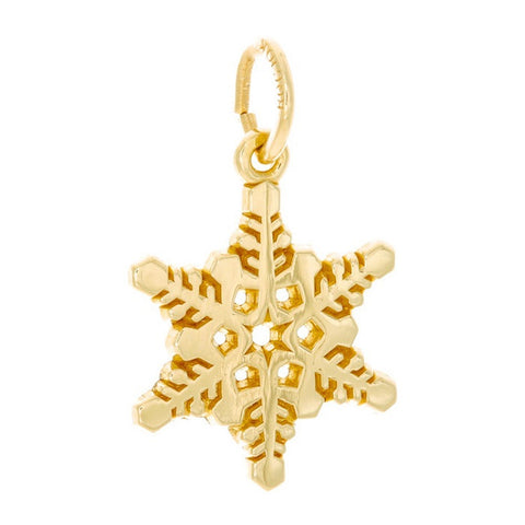 10k Yellow Gold Detailed Snowflake Charm