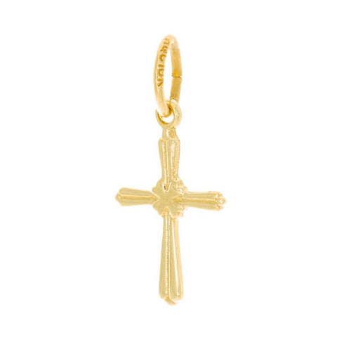 10k Yellow Gold Small Detailed Cross Charm