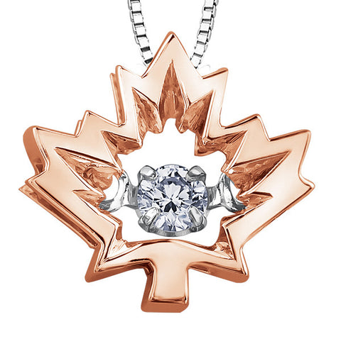10k Gold Canadian Diamond Maple Leaf 'Northern Dacer' Pendant