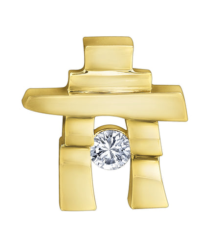 14k yellow gold Inukshuk Pendant with Canadian Diamond (small)
