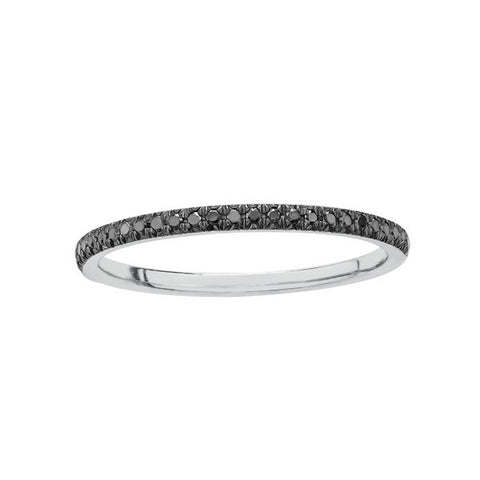 10k White Gold and Black Diamond Fine Band