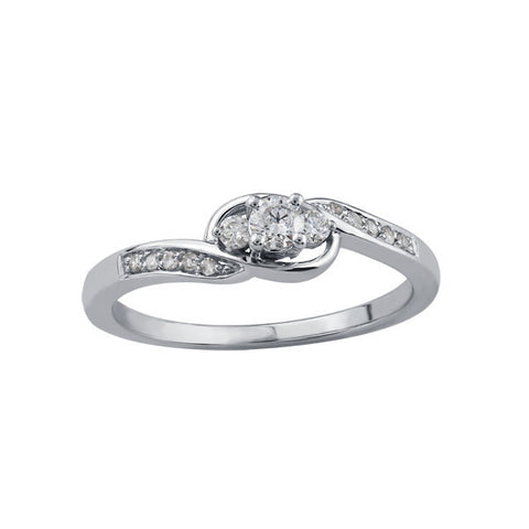 10k White Gold 3 Across Engagement Ring
