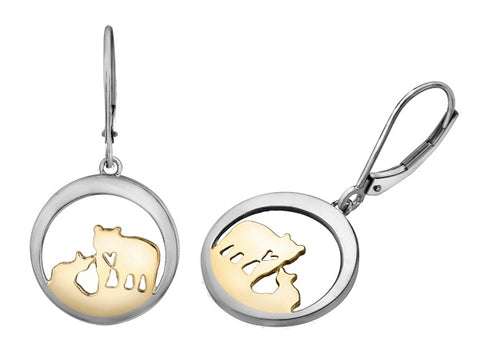 14k Canadian Gold Jeanie Bear Drop Earrings
