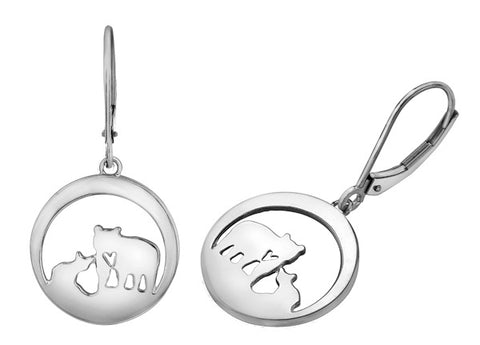 Sterling Silver Jeanie Bear Drop Earrings