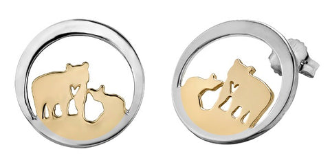 14k Canadian Gold Jeanie Bear Stud Earrings