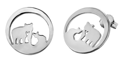 Sterling Silver Jeanie Bear Stud Earrings