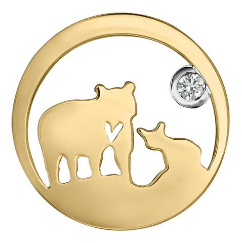 14k Canadian Gold Jeanie Bear Pendant with Canadian Diamond - Medium
