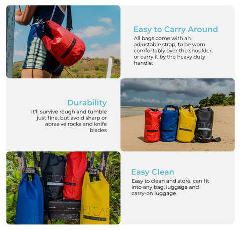 1. Easy to carry around - all bags come with an adjustable strap, to be worn comfortably over the shoulder, or carry it by the heavy duty handle. 2. Durability - it'll survive rough and tumble just fine, but avoid sharp or abrasive rocks and knife blades. 3. Easy Clean - Easy to clean and store, can fit into any bag, luggage and carry-on luggage.