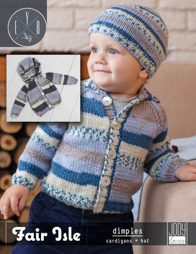 Fair Isle Dimples Cardigan & Hat