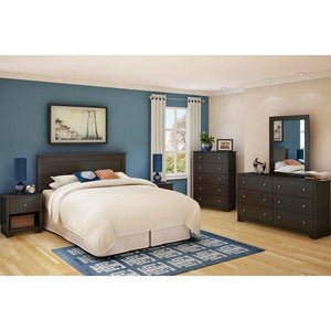 Dark Brown Chocolate Wood Finish 5-Drawer Bedroom Chest of Drawers