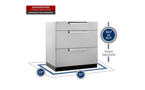 Outdoor Kitchen Stainless Steel 3-Drawer Cabinet