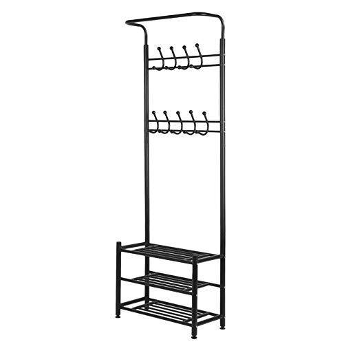 Best seller  moorecastle multi purpose entryway shoes storage organizer hall tree bench with coat rack hooks clothes stand perfect home furniture