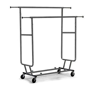 Amazon best cu alightup double rail rolling garment rack with adjustable extensible rails heavy duty collapsible clothing hanging coat rack commercial grade clothes drying rack dress shirt storage stand black